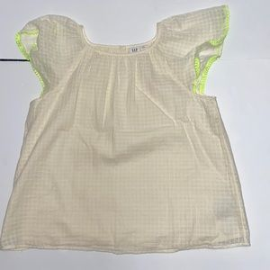 NWT GapKIDS  cream and lime green boho top XXL